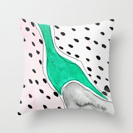 Abstract Watercolor with the same shape as fruit seeds Throw Pillow