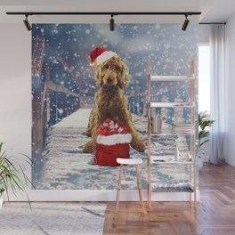 Christmas Golden Doodle Wall Mural
