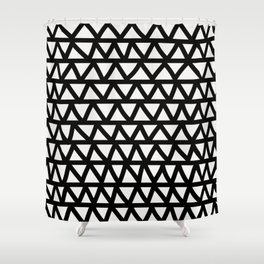 Bold black and white hand-drawn zig-zag- abstract Shower Curtain