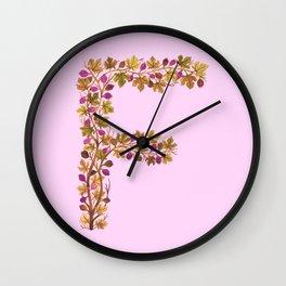 Leafy Letter F Wall Clock