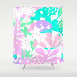 Geometrical abstract pink teal green polka dots floral Shower Curtain
