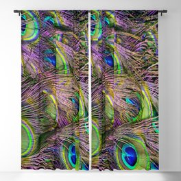 art nouveau bohemian turquoise purple teal green peacock feather Blackout Curtain