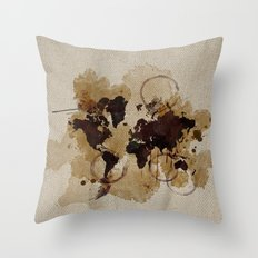 Map Stains Throw Pillow