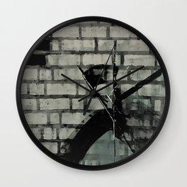 Graffiti Street Art from Original Painting by Jodi Tomer. Abstract Black and White Bricks Wall Clock