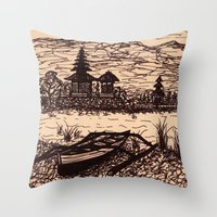 bali Throw Pillows featuring Bali Boating by Erica Putis