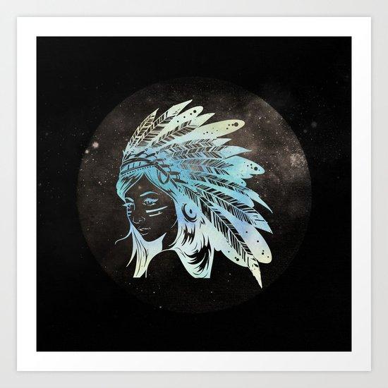 Moon Child Goddess Bohemian Girl Art Print