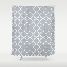 Classic Quatrefoil pattern, silver grey Shower Curtain