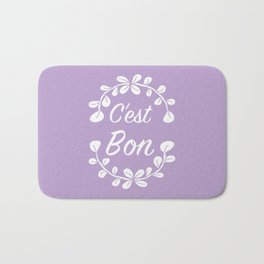 Inspirational French Quote with Leaves in Pastel Purple Bath Mat