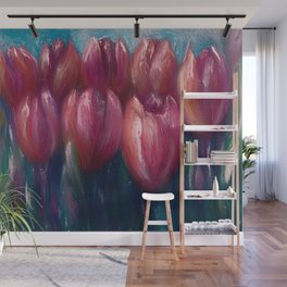 Colorful  Abstract Tulips Panorama Wall Mural