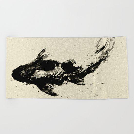 Black Koi Beach Towel
