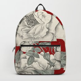SEPIA FLOWERS ON RED Backpack