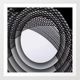black and white abstract geometrical art Art Print