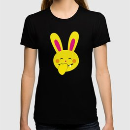 One Tooth Rabbit Emoticons Bunny Face with Hand Over Mouth T-shirt