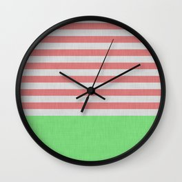 Orange and green stripes and color block Wall Clock
