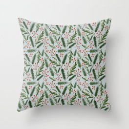 Christmas Branch Pattern Throw Pillow