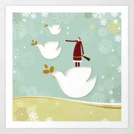 Santa and dove of peace Art Print