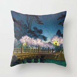 Benkei Bridge by Tsuchiya Koitsu Throw Pillow