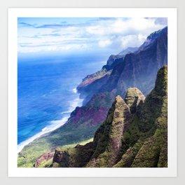 Hawaiian Coastal Cliffs: Aerial View From The Angels Art Print