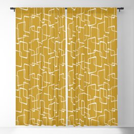 Old Gold and Cream Retro Geometric Shapes Pattern Blackout Curtain