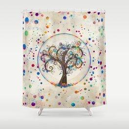 Golden Spiral Tree Color Paint Splatter #2 Shower Curtain