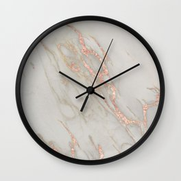 Marble - Rose Gold Marble Metallic Blush Pink Wall Clock