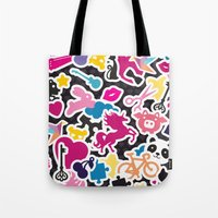sticker Tote Bags featuring Sticker Frenzy by XOOXOO
