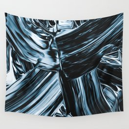 Abstract Chrome Silver Paint II Wall Tapestry