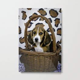 Beagle Puppy with Big Brown Eyes in a Basket in front of Leopard Print Background Metal Print