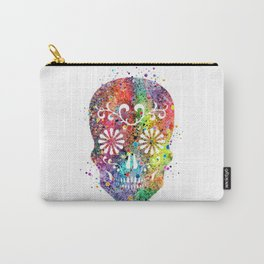 Sugar Skull Watercolor Print Wall Poster Home Decor Carry-All Pouch