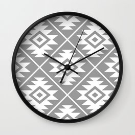 Aztec Symbol Pattern White on Gray Wall Clock