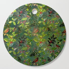 Christmas Pattern with Green Background Cutting Board