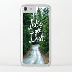 Let's get Lost! - Quote Typography Green Forest Clear iPhone Case