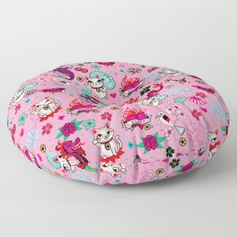 Lucky Cat Maneki Neko , Dragons and Koi fish On Pink Floor Pillow