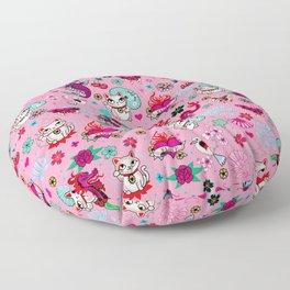 Lucky Cat Maneki Neko , Dragons and Koi fish On Pink Floor Pillow