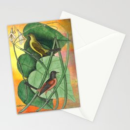 Orioles with Catalpa Tree, Natural History, Vintage Botanical Collage Stationery Cards