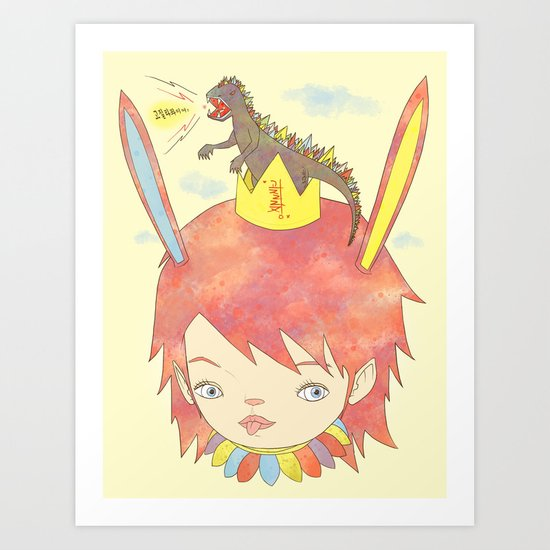 CROWN NEST - GOZILLA KING 고질라킹 Art Print