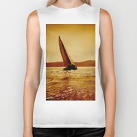 sailboat Biker Tanks featuring single sailboat by laika in cosmos
