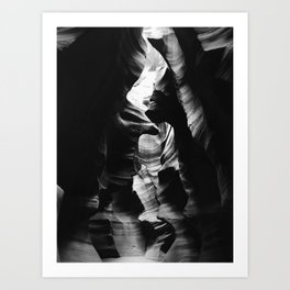 Antelope Canyon Black & White Art Print