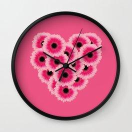 Heart Gerbera pink - Pink II Wall Clock