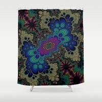 novelty Shower Curtains featuring Peacock Fractal by Moody Muse