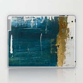 Rain [3]: a minimal, abstract mixed-media piece in blues, white, and gold by Alyssa Hamilton Art Laptop & iPad Skin