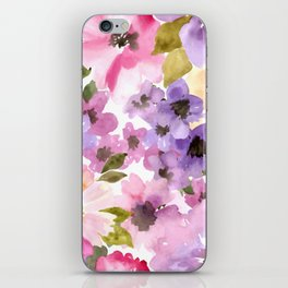 Pink Purple Watercolor Flowers iPhone Skin