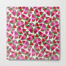 Watercolor Watermelon Pattern Metal Print