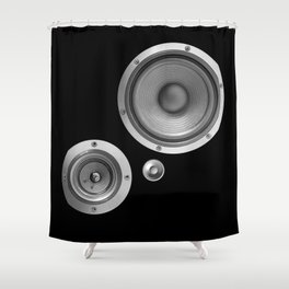 Subwoofer Speaker on black Shower Curtain