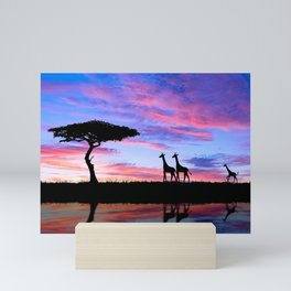Lonely Tree And Giraffes Silhouette In African Savannah At Sunset Ultra HD Mini Art Print