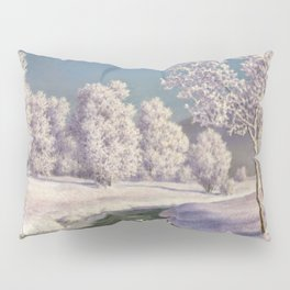 Winter Morning, After New Snow, Along the Emerald Stream by Ivan Fedorovich Choultsé Pillow Sham