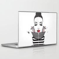 striped Laptop & iPad Skins featuring striped by Yordanka Poleganova