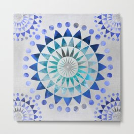 Mandala Pattern blue and turquoise Metal Print
