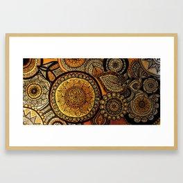 Sunburst Mandala Collage Framed Art Print