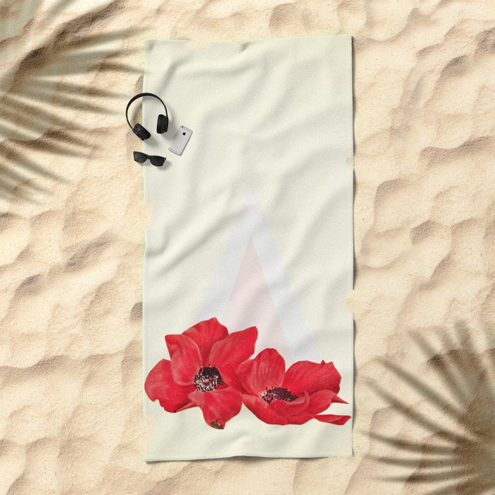 Floral Triangle Beach Towel